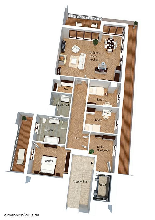 Treppenhaus grundriss 3d  3D-Grundrisse - dimension3plus