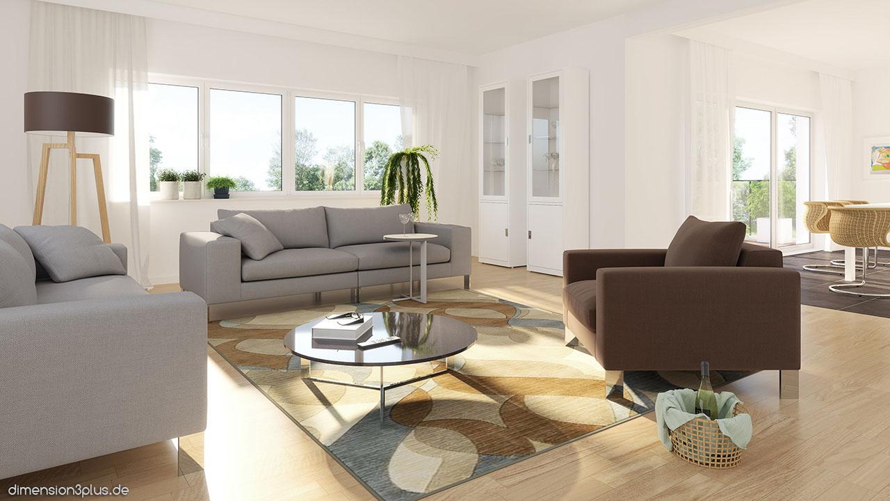 3D-Visualisierung-Wohnzimmer-Kueche - dimension3plus